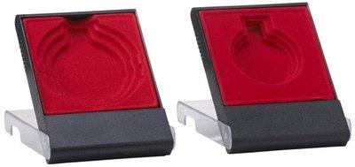 Medailledoosje transparant zwart-rood 40-45-50mm
